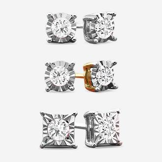 1/6 ct. t.w. diamond stud earrings in sterling silver or 14k gold over sterling silver