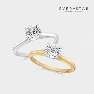 1 ct. Everstar lab-grown diamond solitaire rings in 10k gold
