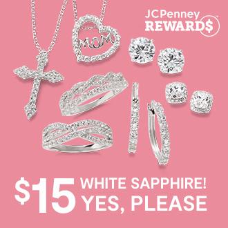 $15 white sapphire yes, please. JCPenney Rewards members: Save 80% Lab-created white sapphire in sterling silver $15 ea., reg. $74.98 ea. Limited time special, while supplies last.