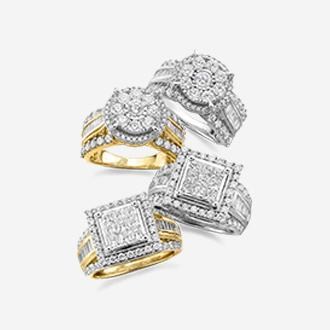 2 ct. t.w. diamond rings in 10k gold