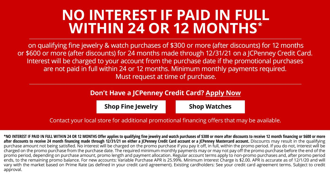 24 or 12 months special financing on qualifying in home custom design purchases made by 12/31/21 on a JCPenney Credit Card get details