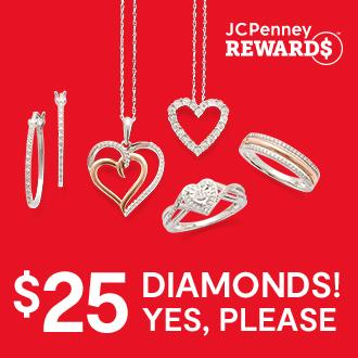 $25 Diamonds Yes Please Save 80% 1/10 ct. t.w. diamond in sterling silver  for $25 ea., reg. $124.98 ea. Limited time special, while supplies last. Excluded from coupons & rewards.