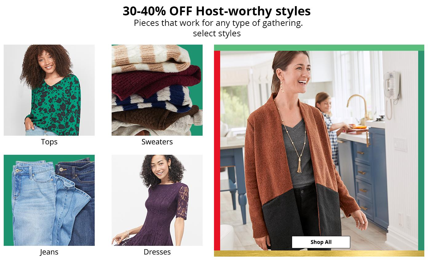 30-40% OFF Host-worthy styles. Pieces that work for any type of gathering, select styles.
