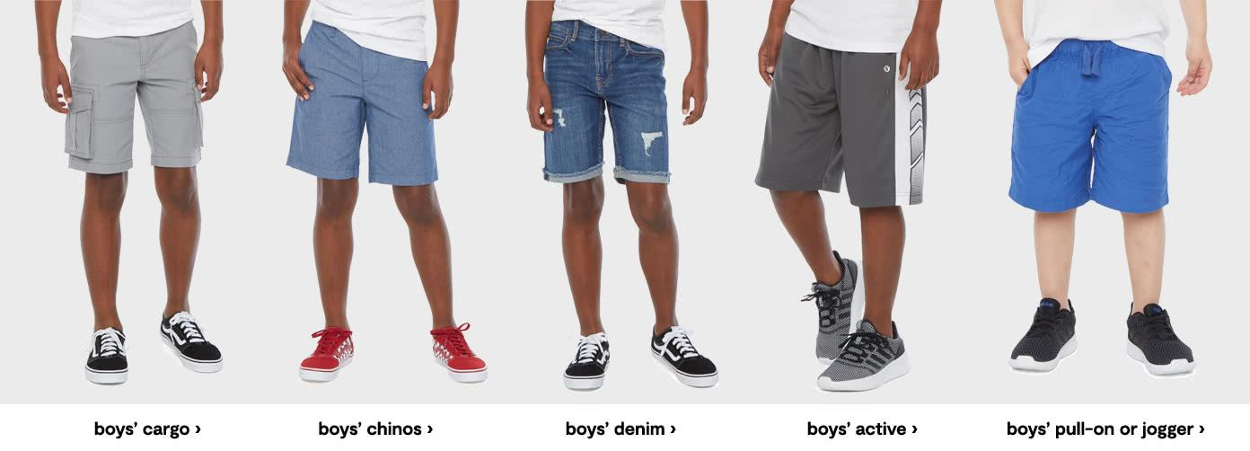 Boys cargo. boys chinos. boys denim. boys active. boys pull on or jogger