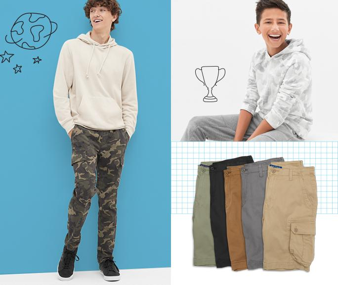 Camo & Utility Gear up for adventure in cargos and outdoorsy prints.