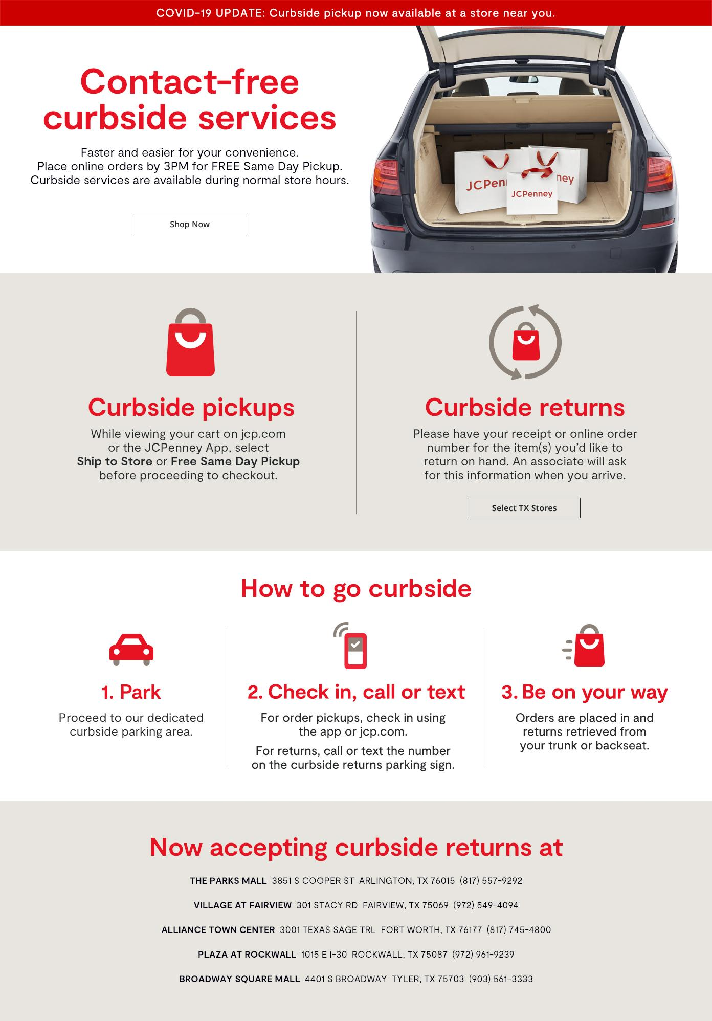 Contact-free curbside services