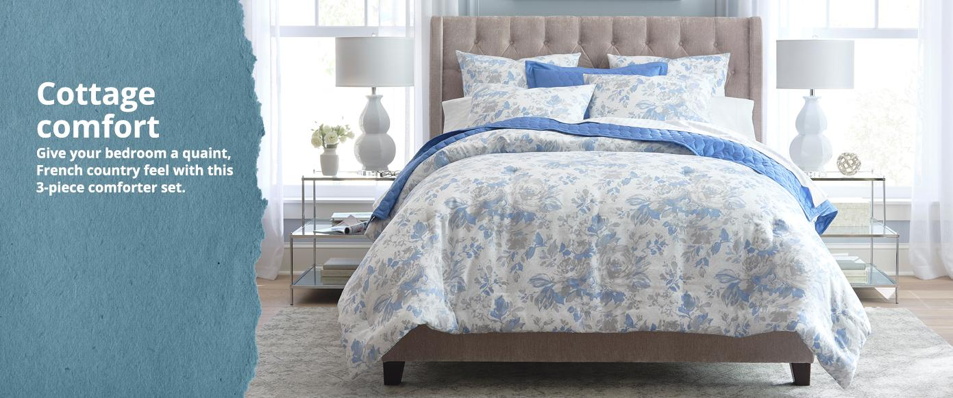 Cottage comfort Give your bedroom a quaint, French country  feel with this 3-piece comforter set.