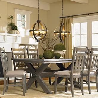Farmhouse Cozy up to casual pieces and rustic charm.