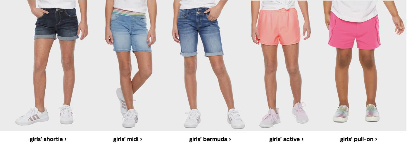 Girls shortie. girls midi. girls bermuda. girls active. girls pull on