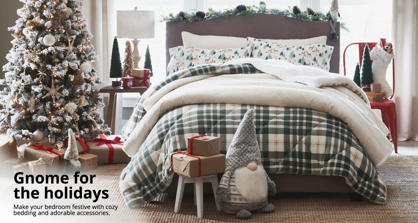 Gnome for the holidays Make your bedroom festive with cozy bedding  and adorable accessories.