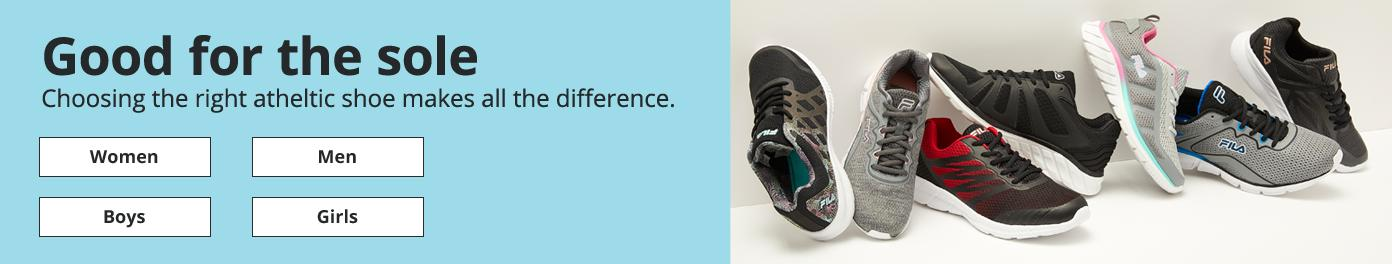 Good for the sole Choosing the right atheltic shoe makes all the difference. Women Men Boys Girls
