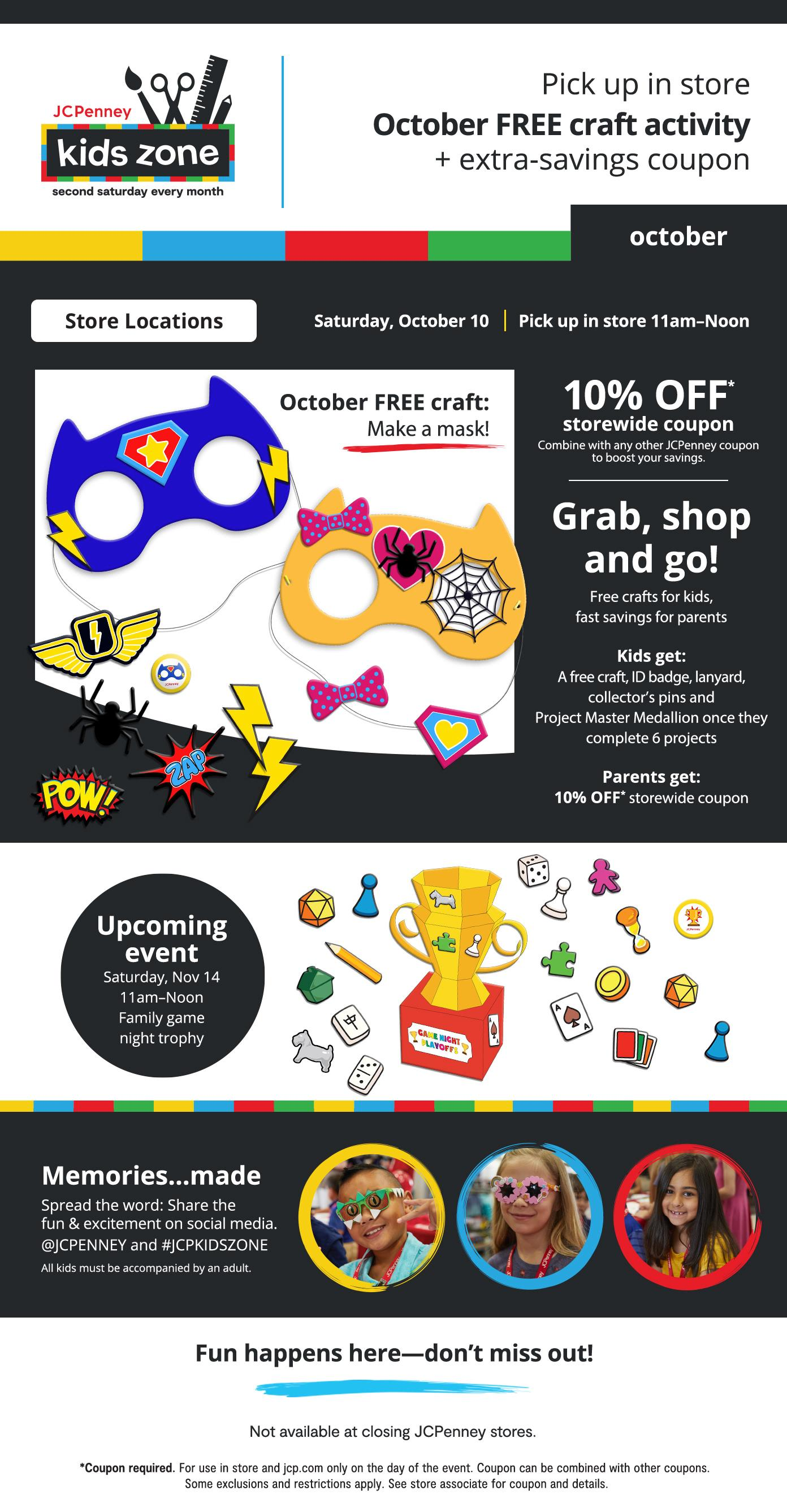 Kids Zone every 2nd Saturday. Oct 10th pick up craft and coupon. Grab, Shop and Go. 11am to noon