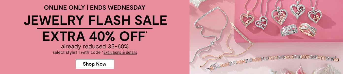 Online only. Ends Wednesday. JEWELRY FLASH SALE EXTRA 40% OFF* already reduced 35-60%, select styles, with code. *Exclusions & details. Shop Now: