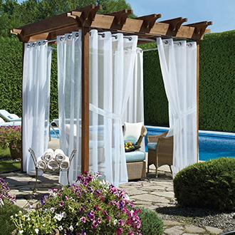Outdoor Curtains Add a bit of privacy and  shade to your outdoor retreat.