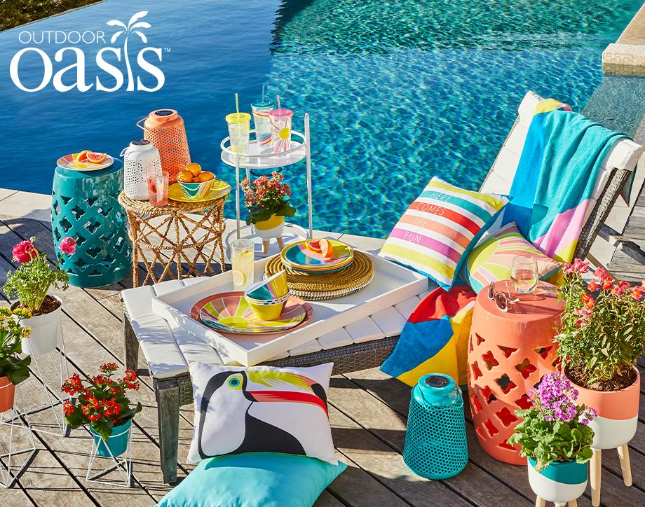 Outdoor Oasis Create a tropical paradise with  bright and bold accessories.