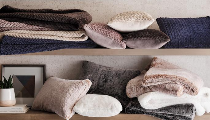 Pillows & Throws Add warmth & softness with snuggly pillows & throws.