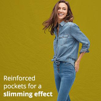 Reinforced pockets for a slimming effect.