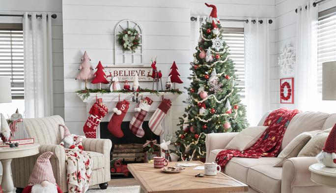 Sleigh Ride Collection It's a homespun holiday with quaint stockings, cozy throws and plush trees and gnomes.