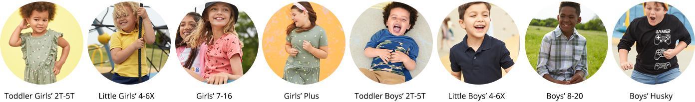 Toddler Girls' 2T-5T Little Girls' 4-6X Girls' 7-16 Girls' Plus Toddler Boys' 2T-5T Little Boys' 4-7 Boys' 8-20 Boys' Husky shop by gender