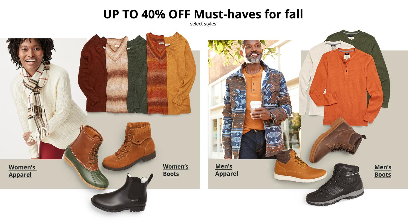 UP TO 40% OFF Must-haves for fall, select styles